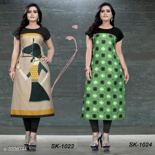 Green & Beige Soft Crepe Kurtis - Indien Boutique
