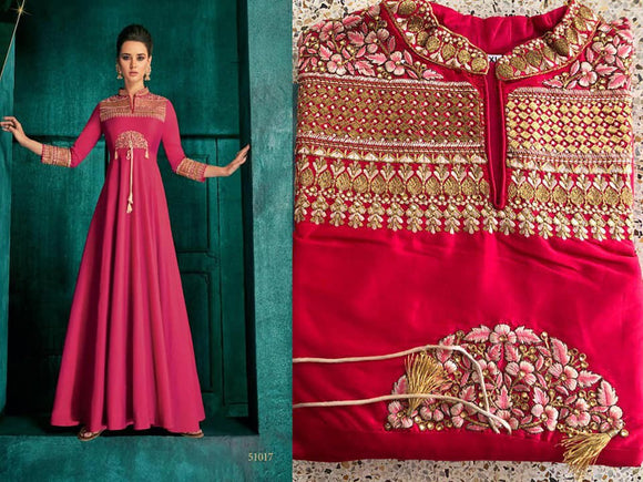 Pink Embroidered Silk Gown - Indien Boutique
