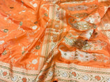 Orange Banarasi Silk Saree - Indien Boutique
