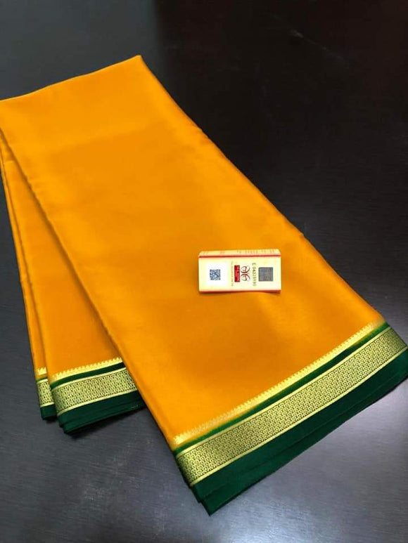 Mysore Silk Saree with Contrast border - Indien Boutique
