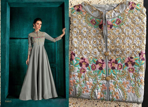 Grey Embroidered Silk Gown - Indien Boutique
