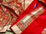 Red Patola Saree with Meena Booti - Indien Boutique