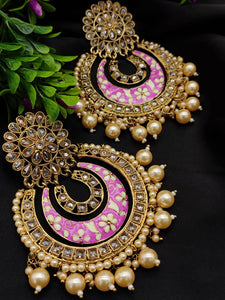 Meenakari Kundan earrings - Indien Boutique