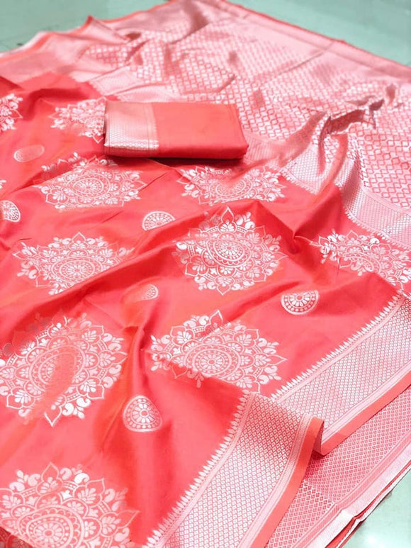 Pink Banarasi Silk Saree - Indien Boutique