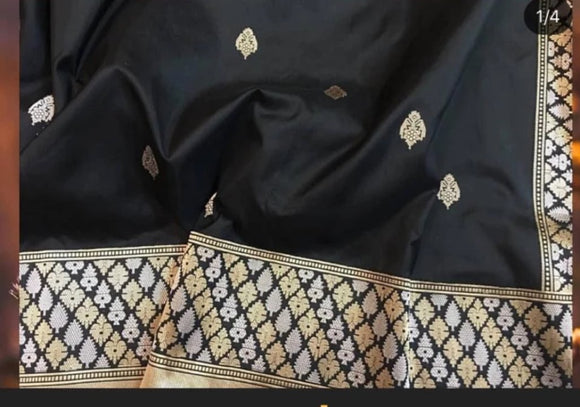 Black Banarasi Silk Saree - Indien Boutique