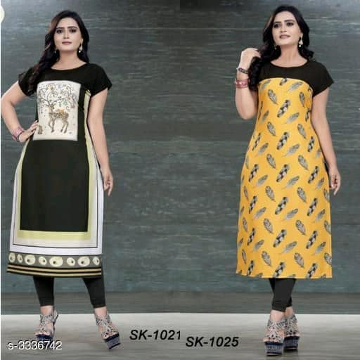 Yellow & Black Soft Crepe Kurtis - Indien Boutique