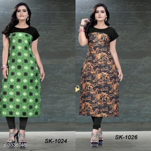 Green & Multicored Soft Crepe Kurtis - Indien Boutique