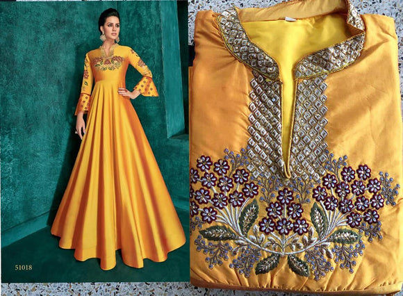 Mustard Yellow Embroidered Silk Gown - Indien Boutique