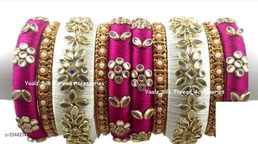 Silk Thread Bangles -  White & Pink - Indien Boutique