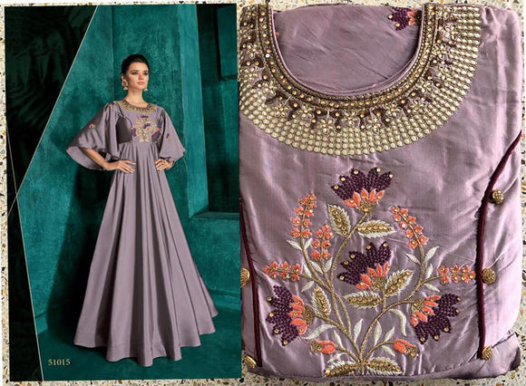 Lavendar Embroidered Silk Gown - Indien Boutique