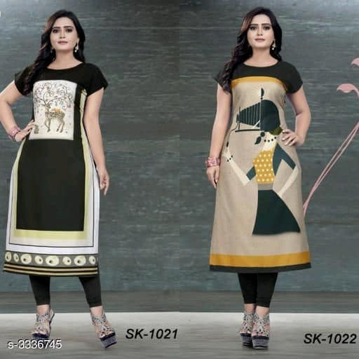 Beige & Black Soft Crepe Kurtis - Indien Boutique