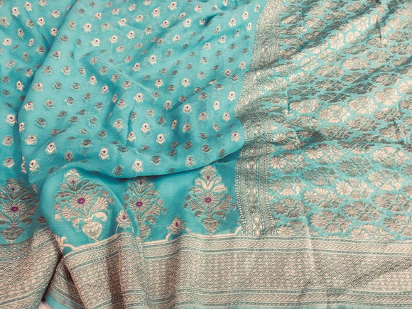 Powder Blue Georgette & Silk Saree - Indien Boutique