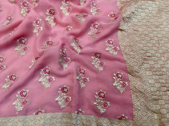 Pink Khadi Georgette Saree - Indien Boutique