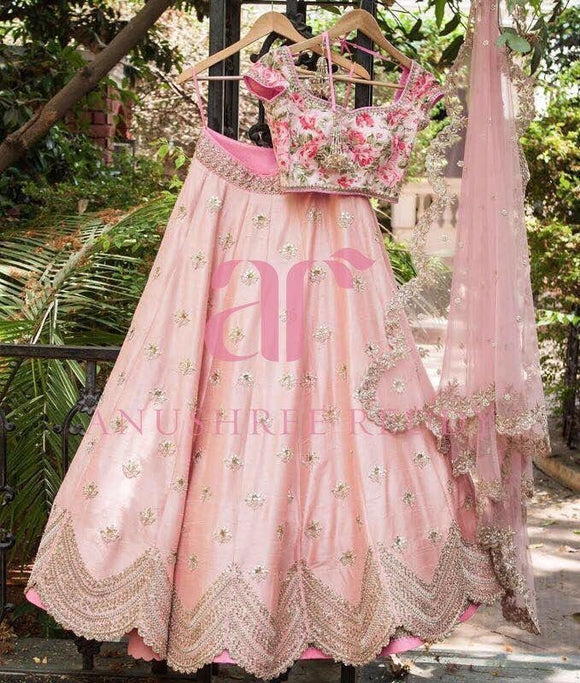 Pink Silk Lehenga Choli - Indien Boutique