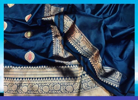 Katan Kadwa Silk Saree - Indien Boutique