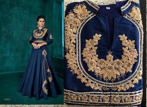 Blue Embroidered Silk Gown - Indien Boutique