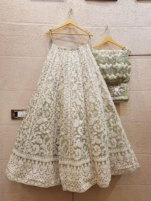 Green Embroidered Designer Lehenga - Indien Boutique