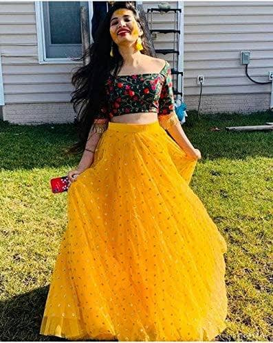 Yellow Chiffon Lehenga - Indien Boutique