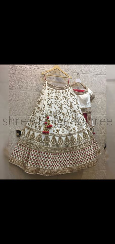 White Silk Lehenga - Indien Boutique