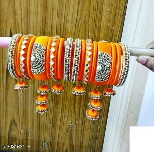 Silk Thread Bangles - Orange - Indien Boutique