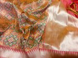 Pink Patola Saree with Meena Booti - Indien Boutique