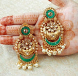 Brass Alloy Earrings - Pink & Green - Indien Boutique