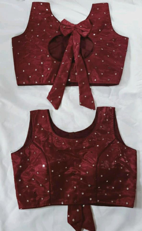 Back Tie Mirror work Blouses - Indien Boutique