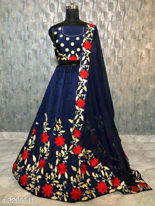 Floral Embroidered Silk Lehenga - Indien Boutique