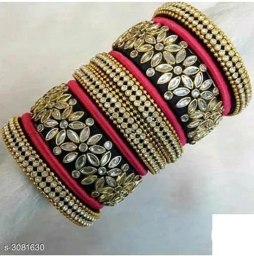 Silk Thread Bangles -  Black & Red - Indien Boutique