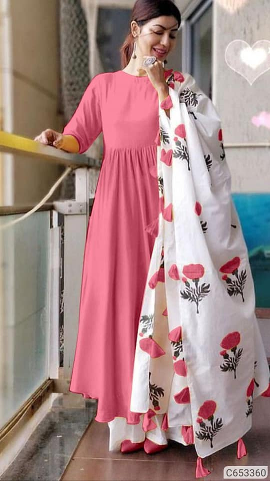 Light Pink Kurta Palazzo Set - Indien Boutique