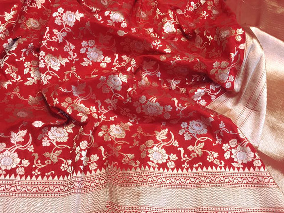 Red Katan Banarasi Silk Saree - Indien Boutique