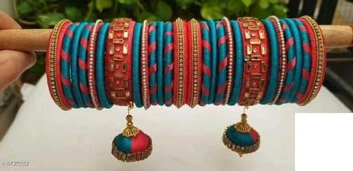 Silk Thread Bangles -  Blue & Pink - Indien Boutique