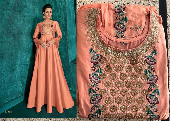 Light Orange Embroidered Silk Gown - Indien Boutique