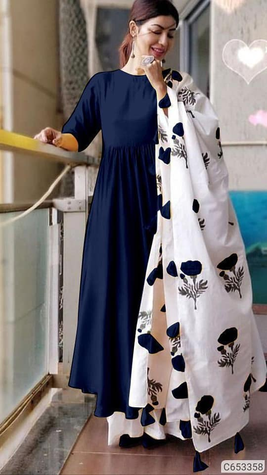 Navy Blue Kurta Palazzo Set - Indien Boutique