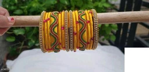 Silk Thread Bangles - Yellow - Indien Boutique