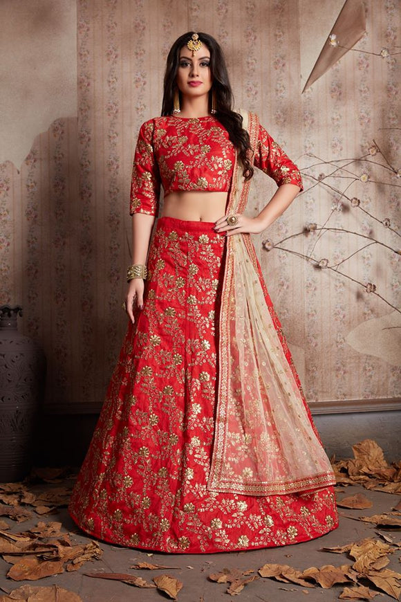 Bridal Red Silk Lehenga - Indien Boutique