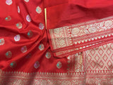 Red Katan Silk with Meena Booti work - Indien Boutique