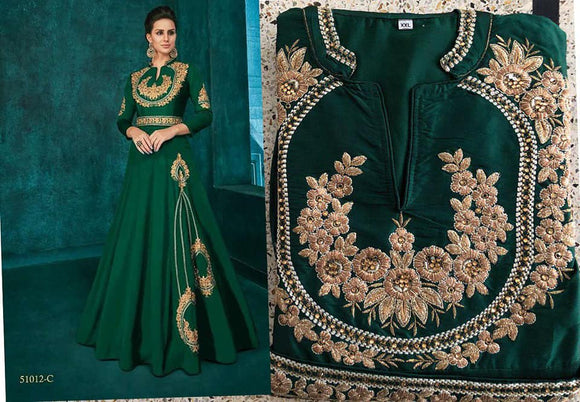 Green Embroidered Silk Gown - Indien Boutique