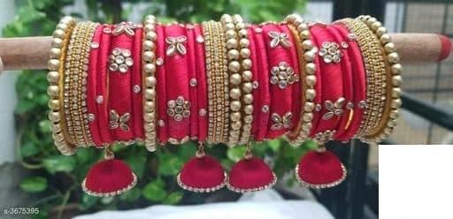 Silk Thread Bangles - Pink - Indien Boutique