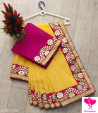 Georgette Saree with Zari border - Indien Boutique
