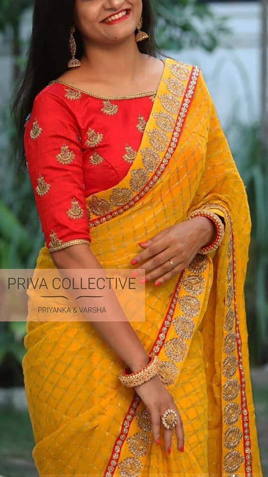 Yellow Saree with red Blouse - Indien Boutique