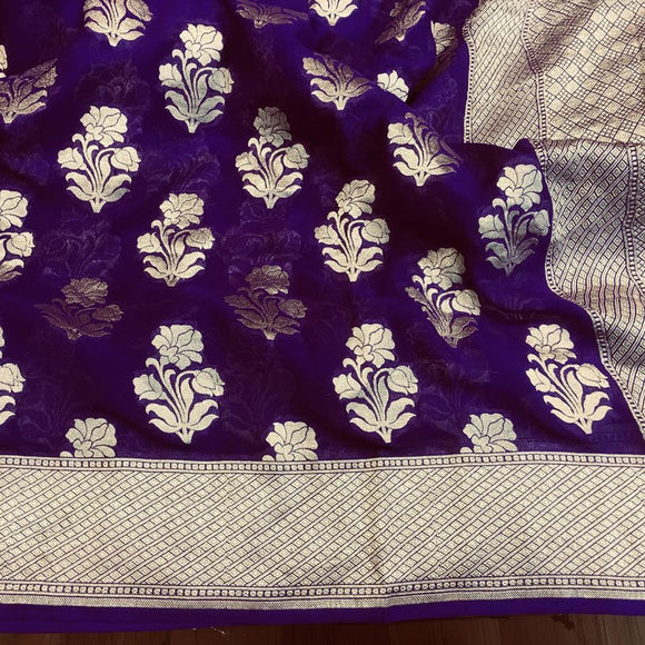 Violet Khadi Georgette Saree - Indien Boutique