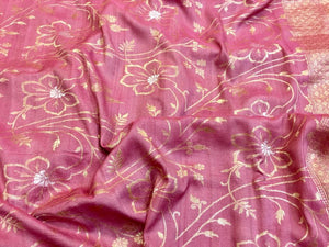 Light Pink Tussar Georgette Saree - Indien Boutique