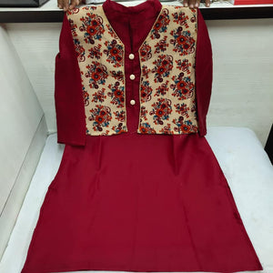 Cotton Silk Kurti Palazzo with Jacket - Indien Boutique