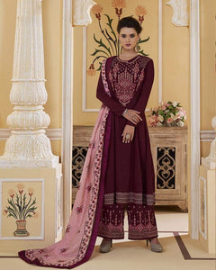 Maroon Embroidered Salwar Palazzo - Indien Boutique