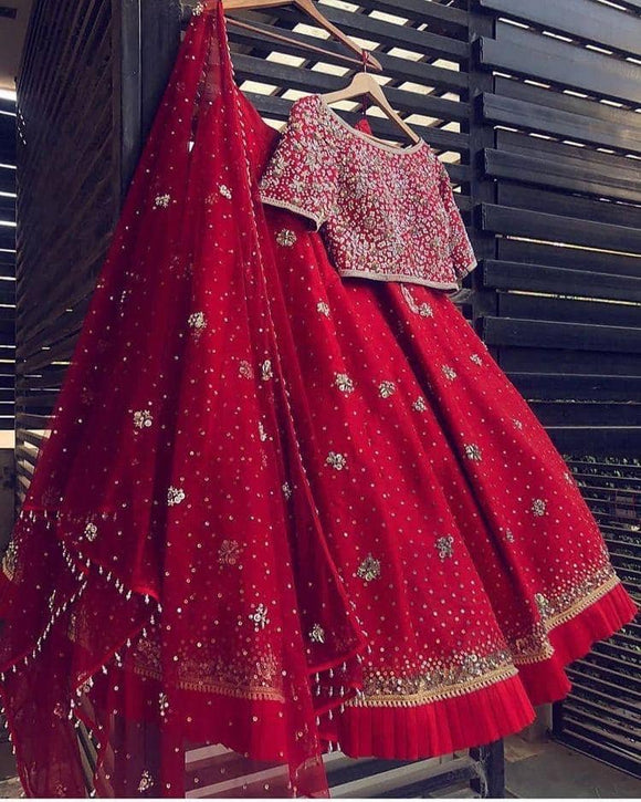 Embroidered Red Silk Lehenga - Indien Boutique