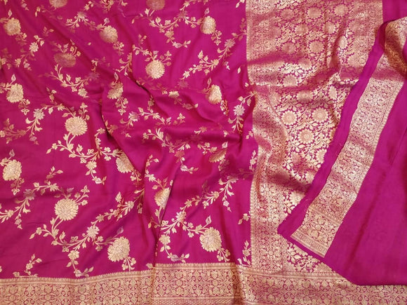 Bright Pink Tussar Banarasi Saree - Indien Boutique