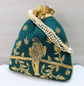 Raw Silk Potli Bags - Indien Boutique