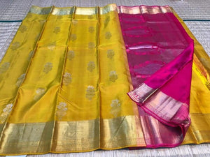 Yellow & Pink Kanjeevaram Silk - Indien Boutique