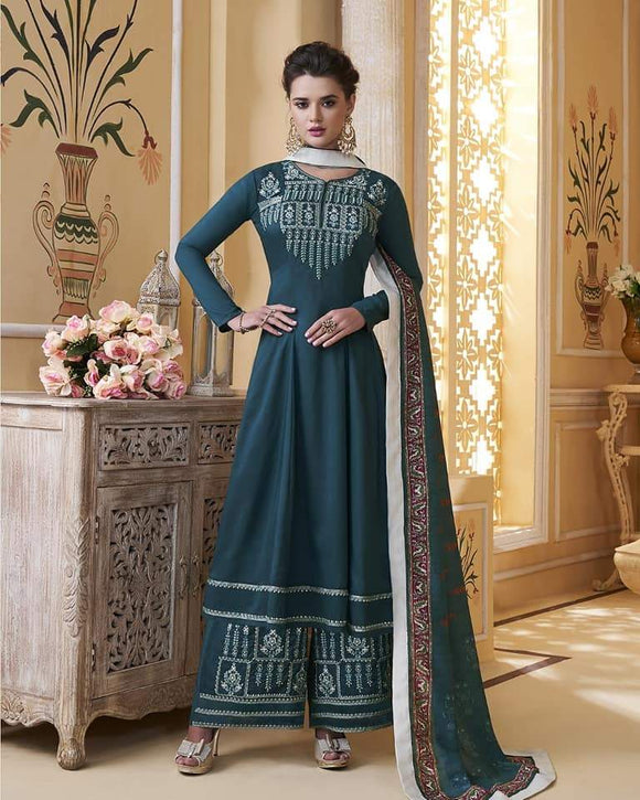 Blue Embroidered Salwar Palazzo - Indien Boutique